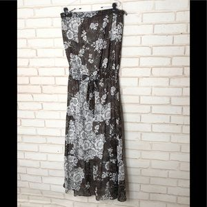 Strapless Animal and Floral Maxi Dress Sz L